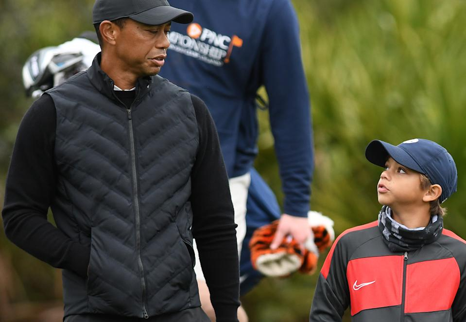 Tiger and Charlie Woods. (Photo by Paul Hennessy/SOPA Images/LightRocket via Getty Images)
