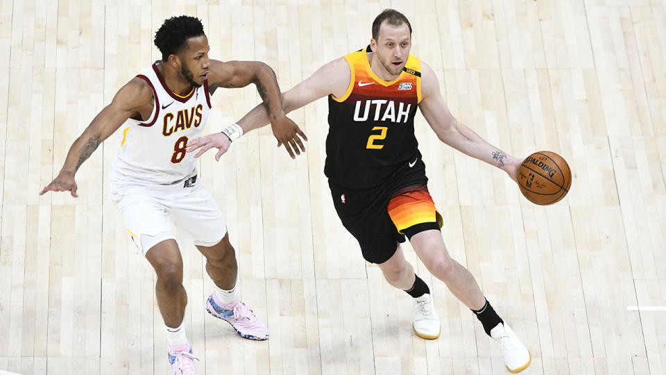 Joe Ingles, pictured here in action for the Utah Jazz against the Cleveland Cavaliers.