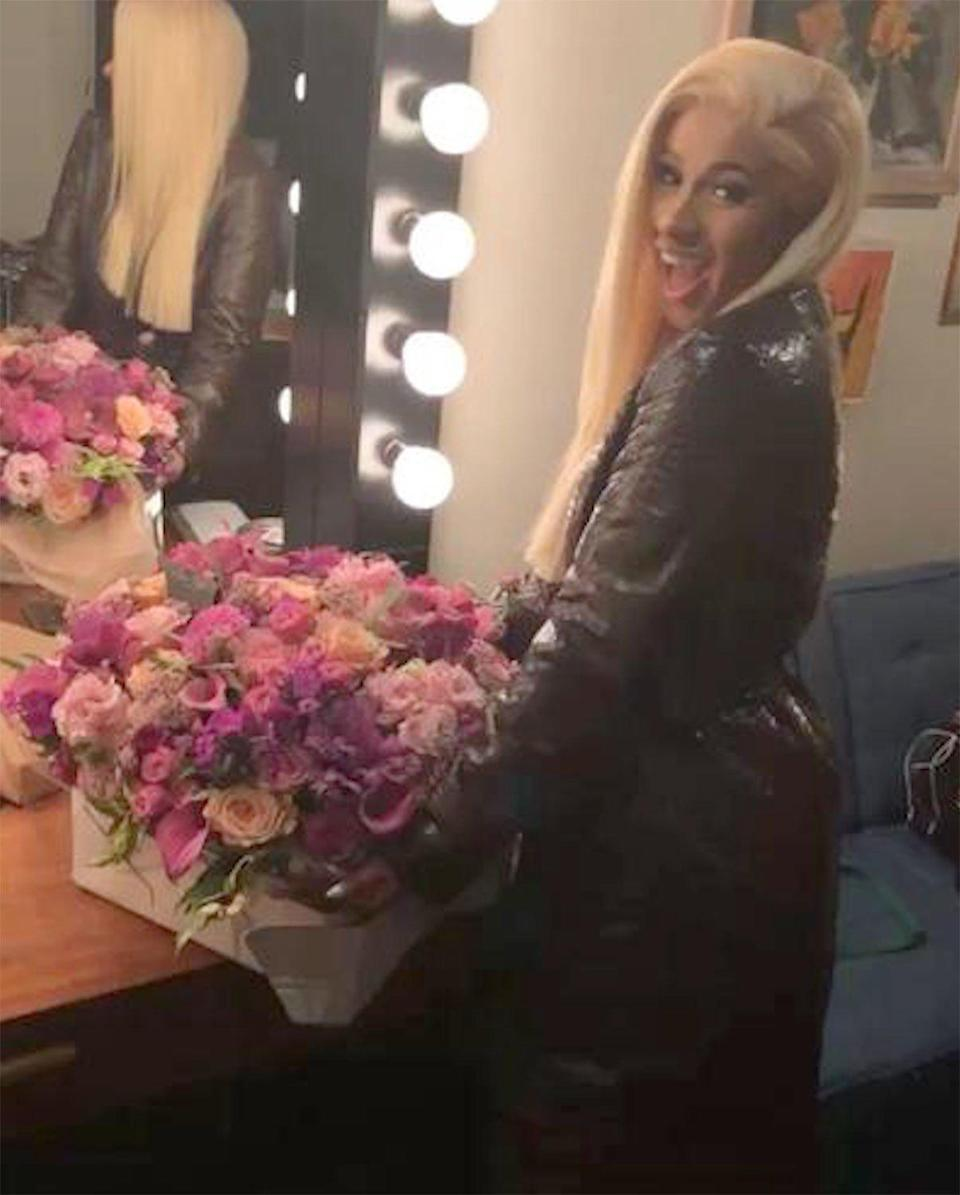 """One day after Taylor Swift's """"Look What You Made Me Do"""" was knocked down to No. 3 on the Billboard charts, she sent flowers to the new history-making No. 1, Cardi B. <a href=""""http://people.com/music/taylor-swift-sends-cardi-b-flowers-number-one/"""" rel=""""nofollow noopener"""" target=""""_blank"""" data-ylk=""""slk:The &quot;Bodak Yellow&quot; rapper shared a picture of the gift"""" class=""""link rapid-noclick-resp"""">The """"Bodak Yellow"""" rapper shared a picture of the gift</a> on Instagram, writing, """"Sooo beautiful and lovely. Thank you @taylorswift for the flowers ... and I freaking love your music."""""""