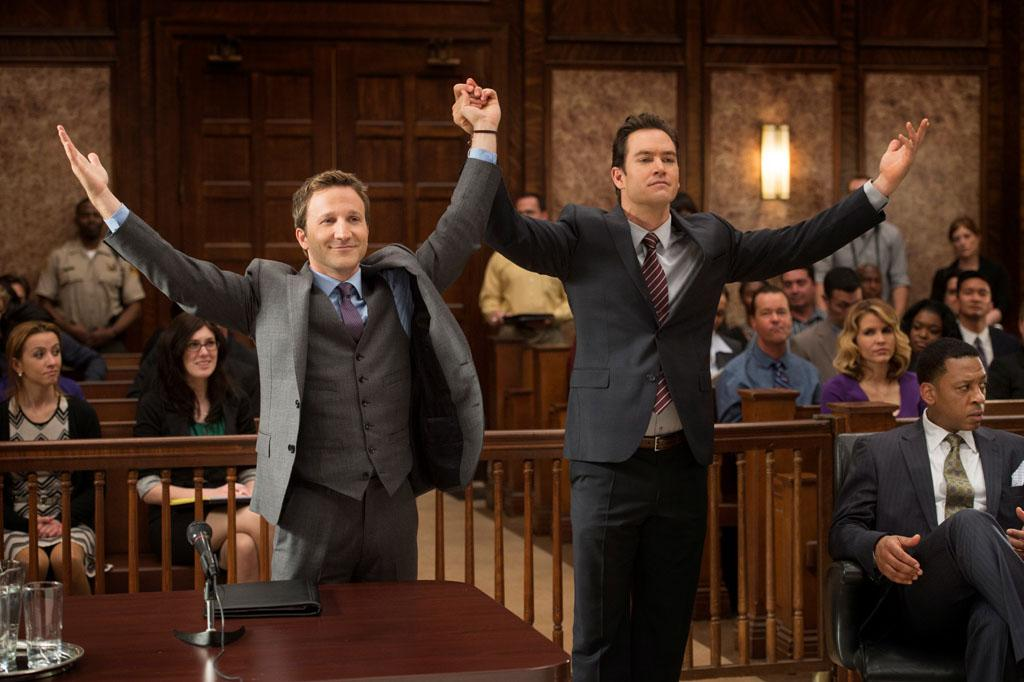 "Breckin Meyer and Mark-Paul Gosselaar in the ""Franklin & Bash"" Season 3 Premiere, ""Coffee and Cream."""