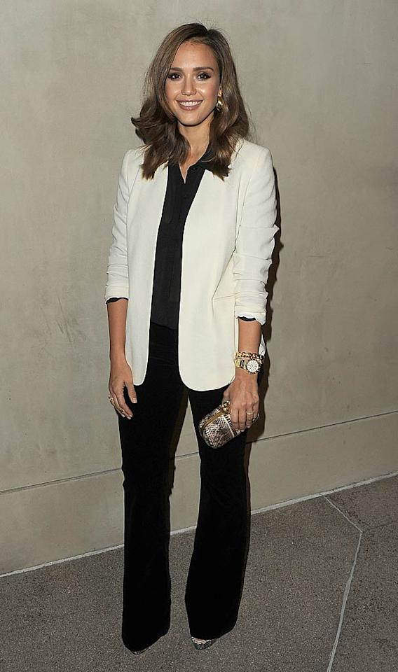 Mom of two Jessica Alba also took to the trousers, which she paired with a black top and cream blazer.   Jason Merritt/GettyImages.com - October 11, 2011
