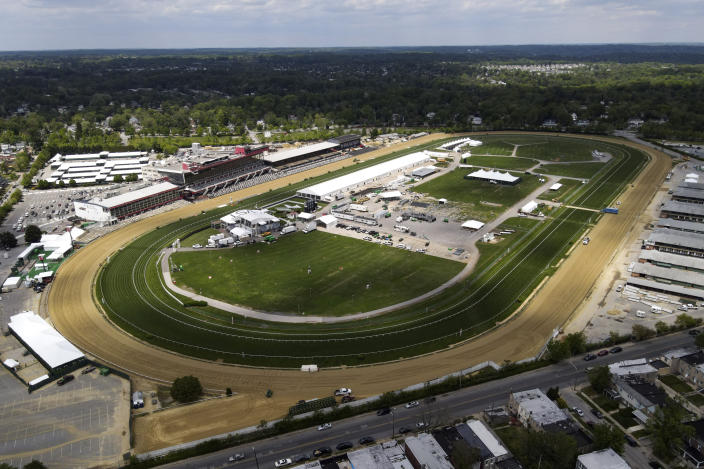 Pimlico Race Course is visible ahead of the Preakness Stakes horse race, Tuesday, May 11, 2021, in Baltimore. (AP Photo/Julio Cortez)