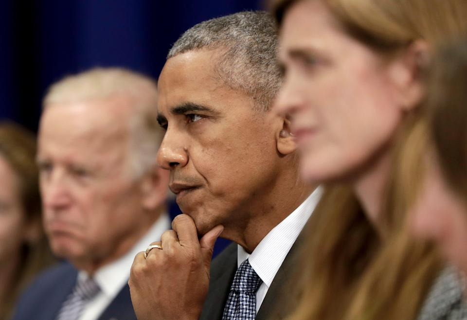 President Barack Obama, center, joined by Vice President Joe Biden, left, and United States United Nations Ambassador Samantha Power, right, looks to Iraqi Prime Minister Haider al-Abadi as he speaks to media during a bilateral meeting at the Lotte New York Palace Hotel in New York, N.Y., Monday, Sept. 19, 2016.