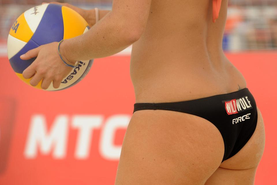 A Beach volleyball player takes part in a women's Pool Play match during the 2012 FIVB Beach Volleyball World Tour Moscow Grand Slam at the historical Poklonnaya Gora (Victory Park) in Moscow, on June 8, 2012. AFP PHOTO / KIRILL KUDRYAVTSEVKIRILL KUDRYAVTSEV/AFP/GettyImages