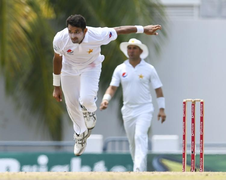 Mohammad Abbas of Pakistan bowing, taking 4 West Indies wickets for 56 runs during the 2nd day of the 2nd Test match between West Indies and Pakistan at Kensington Oval, Bridgetown, Barbados on May 1, 2017