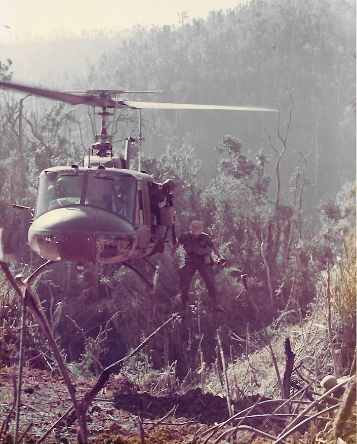 A Huey helicopter in Vietnam