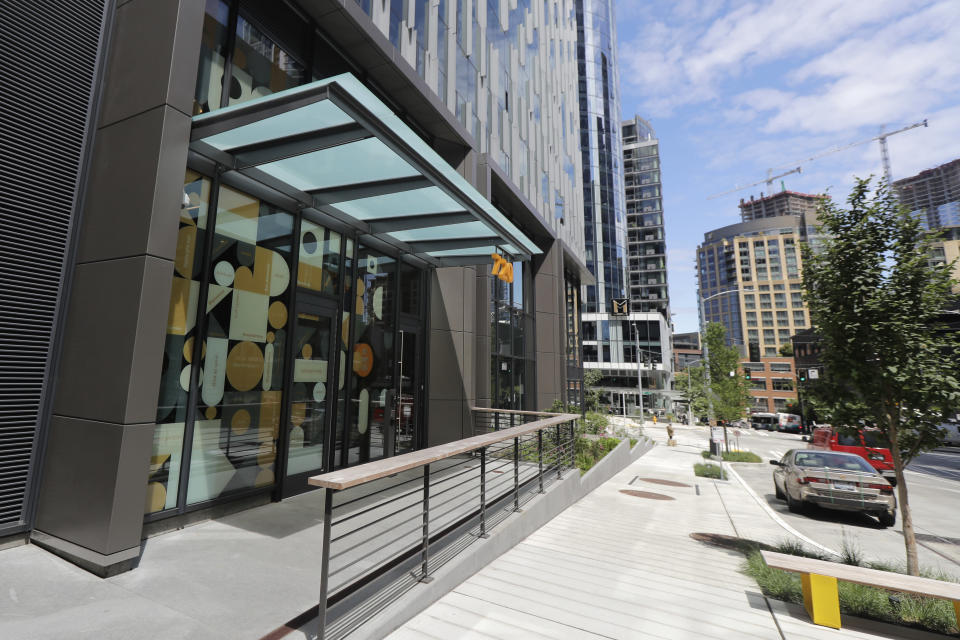 The entrance to Mary's Place, a family homeless shelter located inside an Amazon corporate building on the tech giant's Seattle campus, is shown Wednesday, June 17, 2020. The facility is home to the Popsicle Place shelter program, an initiative to address the needs of homeless children with life-threatening health conditions. (AP Photo/Ted S. Warren)