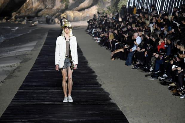 A look from the Spring 2020 Men's Saint Laurent show in Malibu. Photo: Frazer Harrison/Getty Images