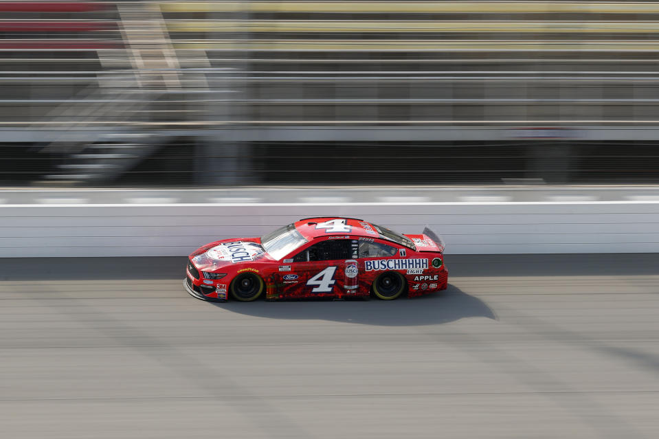 Kevin Harvick races during a NASCAR Cup Series auto race at Michigan International Speedway in Brooklyn, Mich., Sunday, Aug. 9, 2020. (AP Photo/Paul Sancya)