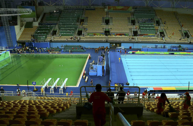 "<p>Pools in the Maria Lenk Aquatic Center turned green within 24 hours of them reflecting a shiny blue. The cause? A worker dumped hydrogen peroxide into the pools, turning them green and apparently making them ""smell like farts,"" quite embarrassing for Olympic officials. A lot can change in 24 hours. (REUTERS/Antonio Bronic) </p>"