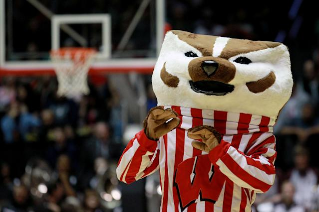 ALBUQUERQUE, NM - MARCH 15: The Wisconsin Badgers mascot 'Bucky Badger' performs during the second half of the game against the Montana Grizzlies during the second round of the 2012 NCAA Men's Basketball Tournament at The Pit on March 15, 2012 in Albuquerque, New Mexico. (Photo by Ronald Martinez/Getty Images)
