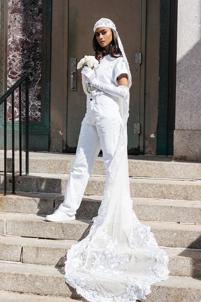 "<p><strong>POPSUGAR: Was this casual look somewhat inspired by what you were supposed to wear on your big day?</strong><br> <strong>Vashtie Kola</strong>: The intended look for my big ceremony will eventually be designed by my best friend Raul Lopez of <a href=""https://www.instagram.com/raulzepol/?hl=en"" target=""_blank"" class=""ga-track"" data-ga-category=""Related"" data-ga-label=""https://www.instagram.com/raulzepol/?hl=en"" data-ga-action=""In-Line Links"">Luar</a>. Our inspiration for that look will honor classic wedding traditions (white dress, etc), yet stay true to my personal style. Having said that, it's nothing like my look for City Hall.</p> <p><strong>PS: Were the items you wore - the Dickies, Nikes, and t-shirt - items you already had in your closet?</strong>:<br> <strong>VK</strong>: I already had the unworn Dickies work pants (my something new), purchased a few weeks prior at the workwear supply store Dave's New York. I also already owned the Nike Air Force 1 Sneakers (something old), which were a gift from my husband. The Supreme Hanes t-shirt I shopped for because I'm clumsy and every white tee I own is stained. It seemed appropriate to shop for a fresh white tee. My something borrowed was an earring from my photographer, Edwin Ortiz Jr., and my something blue was a blue mouse toy that belonged to my cat Vladimir who has now passed.</p> <div class=""pullquote-container""><blockquote class=""pullquote"">""Your self-expression and identity don't need to get lost on your own wedding day.""</blockquote></div> <p><b>PS: Did you have any inspiration photos you used to put together the look?</b><br> <b>VK</b>: I was never a girl who dreamed of her wedding for many reasons, but mainly because my style never correlated with the weddings I saw. After my proposal, I realized that I could make my wedding look my own and started with that as inspiration. I asked myself questions like, ""How do I want to feel on my wedding day?"" or ""When do I feel most like myself?"" I kept coming to the answer that I wanted to be comfortable in pants, sneakers, and a t-shirt.</p> <p>I also feel like a lot of young women with a style similar to mine have followed my career and been a part of my journey, so I wanted them to see that you don't need a super expensive dress or a destination wedding to get married. Your self-expression and identity don't need to get lost on your own wedding day. We all get caught up in the ""who wore what"" or ""who went where"" and tend to create unrealistic standards of what we think our big life moments should look like. Your wedding day is all about you and your partner - that's it. Do what you want and don't get caught up in what others are doing or what people are expecting from you.</p>"