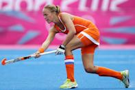 Maartje Paumen of Netherlands in action during the Women's Pool WA Match W02 between the Netherlands and Belgium at the Hockey Centre on July 29, 2012 in London, England. (Photo by Daniel Berehulak/Getty Images)