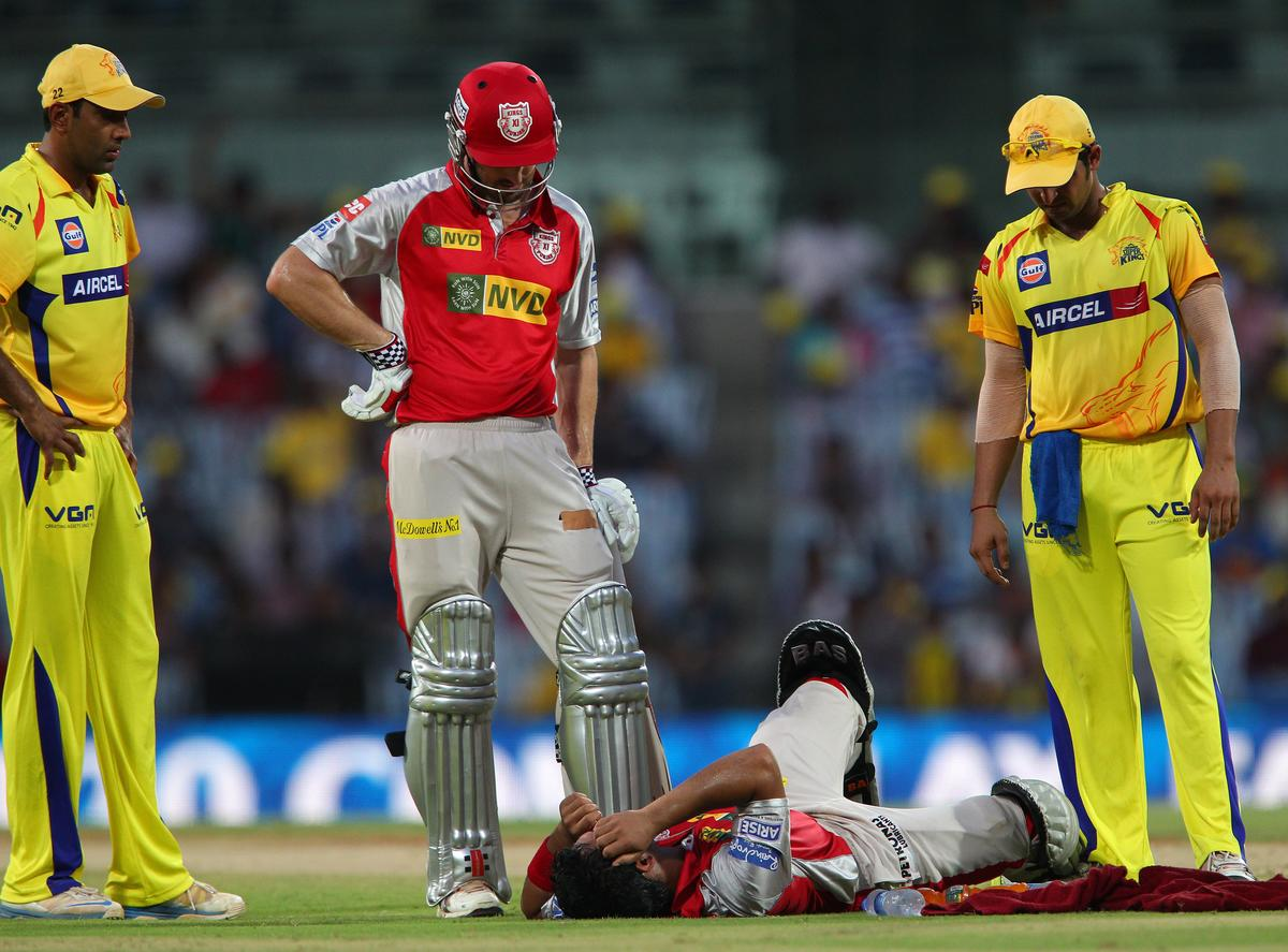 Mandeep Singh lies injured on the ground during match 45 of the Pepsi Indian Premier League between The Chennai Superkings and the Kings XI Punjab held at the MA Chidambaram Stadium in Chennai on the 2nd May 2013..Photo by Ron Gaunt-IPL-SPORTZPICS   .. .Use of this image is subject to the terms and conditions as outlined by the BCCI. These terms can be found by following this link:..https://ec.yimg.com/ec?url=http%3a%2f%2fwww.sportzpics.co.za%2fimage%2fI0000SoRagM2cIEc&t=1490280349&sig=_mSKv8BQ2mZTB0oJ18Kbvg--~C