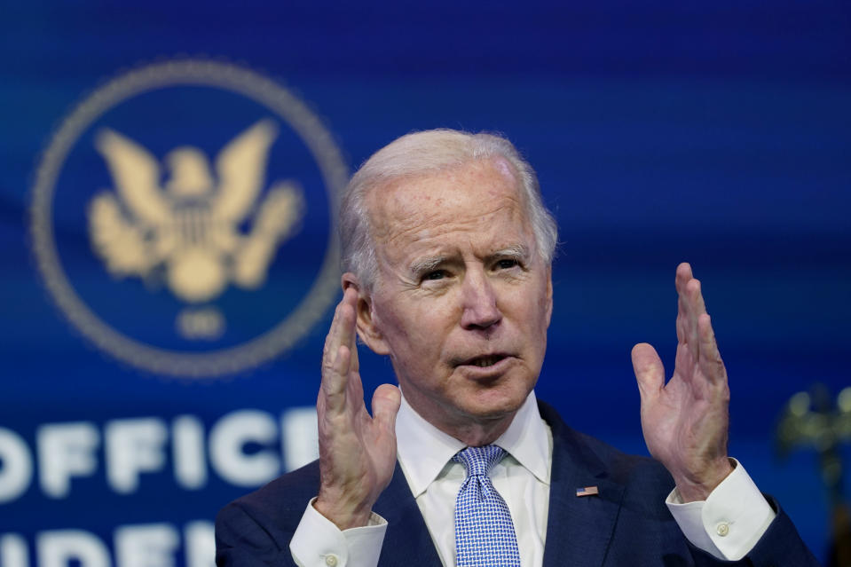 In this Jan. 6, 2021 file photo, President-elect Joe Biden speaks at The Queen theater in Wilmington, Del. (AP Photo/Susan Walsh)