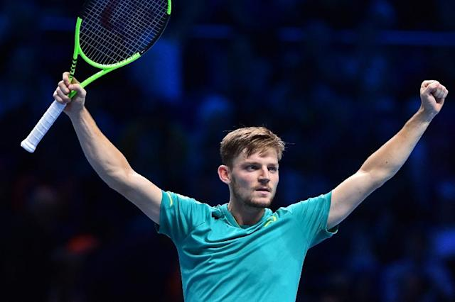 Belgium's David Goffin reacts after winning his singles match against Spain's Rafael Nadal on day two of the ATP World Tour Finals tennis tournament November 13, 2017 (AFP Photo/Glyn KIRK )