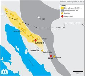 Location of El Picacho Project within the Caborca Orogenic Gold Belt
