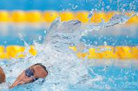 <p>Italy's Simona Quadarella competes in a heat for the women's 1500m freestyle swimming event at the Tokyo Aquatics Centre on July 26.</p>