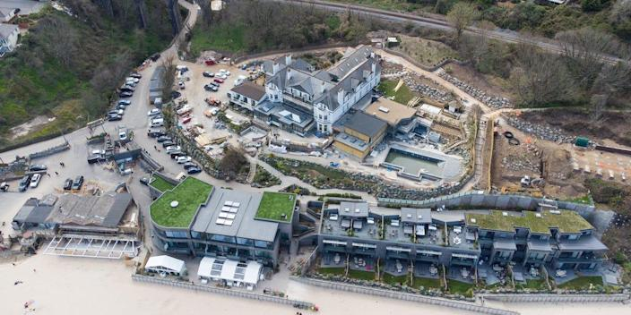 Aerial view of the G7 venue at Carbis Bay, Cornwall on April 17, 2021 in St Ivez, England. The June summit will be the first face-to-face meeting between G7 leaders since the covid-19 pandemic. G7 countries include the UK, US, Germany, France, Canada, Italy and Japan. (Photo by Matt Cardy/Getty Images)