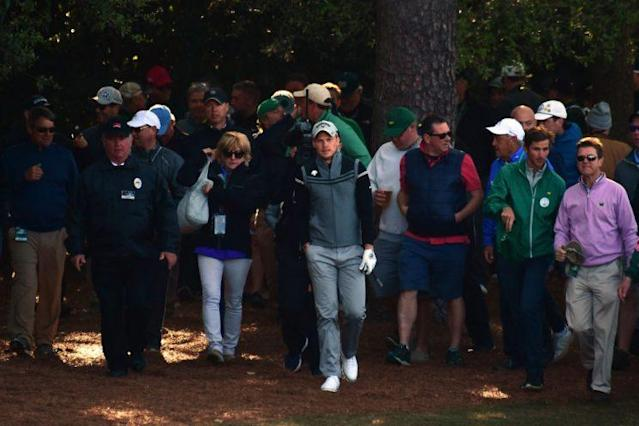 "AUGUSTA, GA – APRIL 07: <a class=""link rapid-noclick-resp"" href=""/pga/players/9611/"" data-ylk=""slk:Danny Willett"">Danny Willett</a> of England walks from the rough on the first hole during the second round of the 2017 Masters Tournament. Willett made quadruple-bogey 8. (Photo by Harry How/Getty Images)"