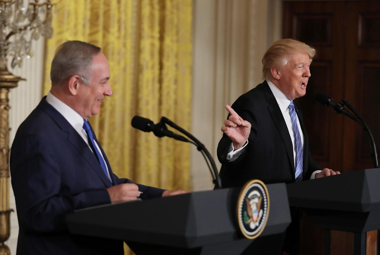 PresidentTrump with Israeli Prime Minister Benjamin Netanyahu at a joint news conference at the White House last February. (Photo: Carlos Barria/Reuters)