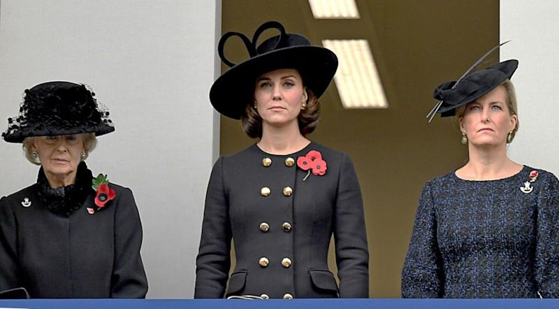 Kate Middleton also stood on the balcony watching the events unfold. Photo: Getty Images