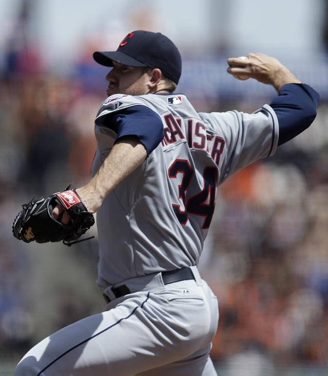 Cleveland Indians' Zach McAllister works against the San Francisco Giants in the first inning of a baseball game on Saturday, April 26, 2014, in San Francisco. (AP Photo/Ben Margot)