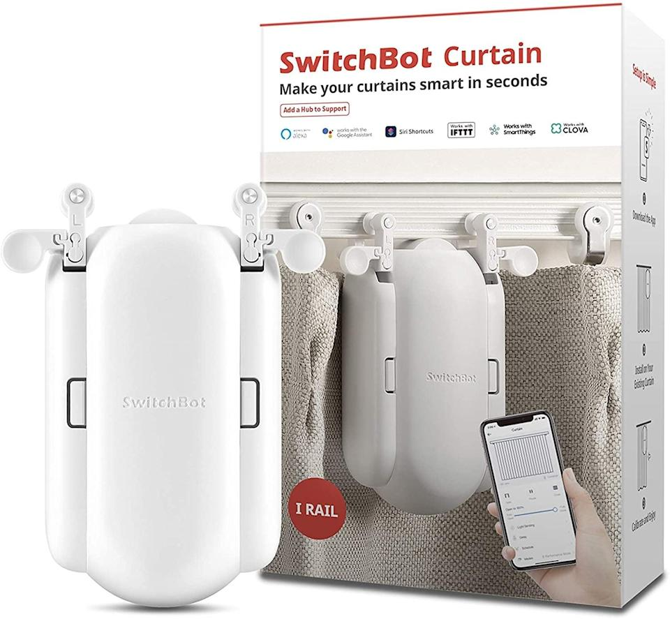 <p>You'll be able to open and close your curtains using only your phone with the <span>SwitchBot Curtain Smart Electric Motor </span> ($89). You can even set up a schedule so the curtains open and close throughout the day. It's compatible with Alexa, Google, and HomePod. </p>
