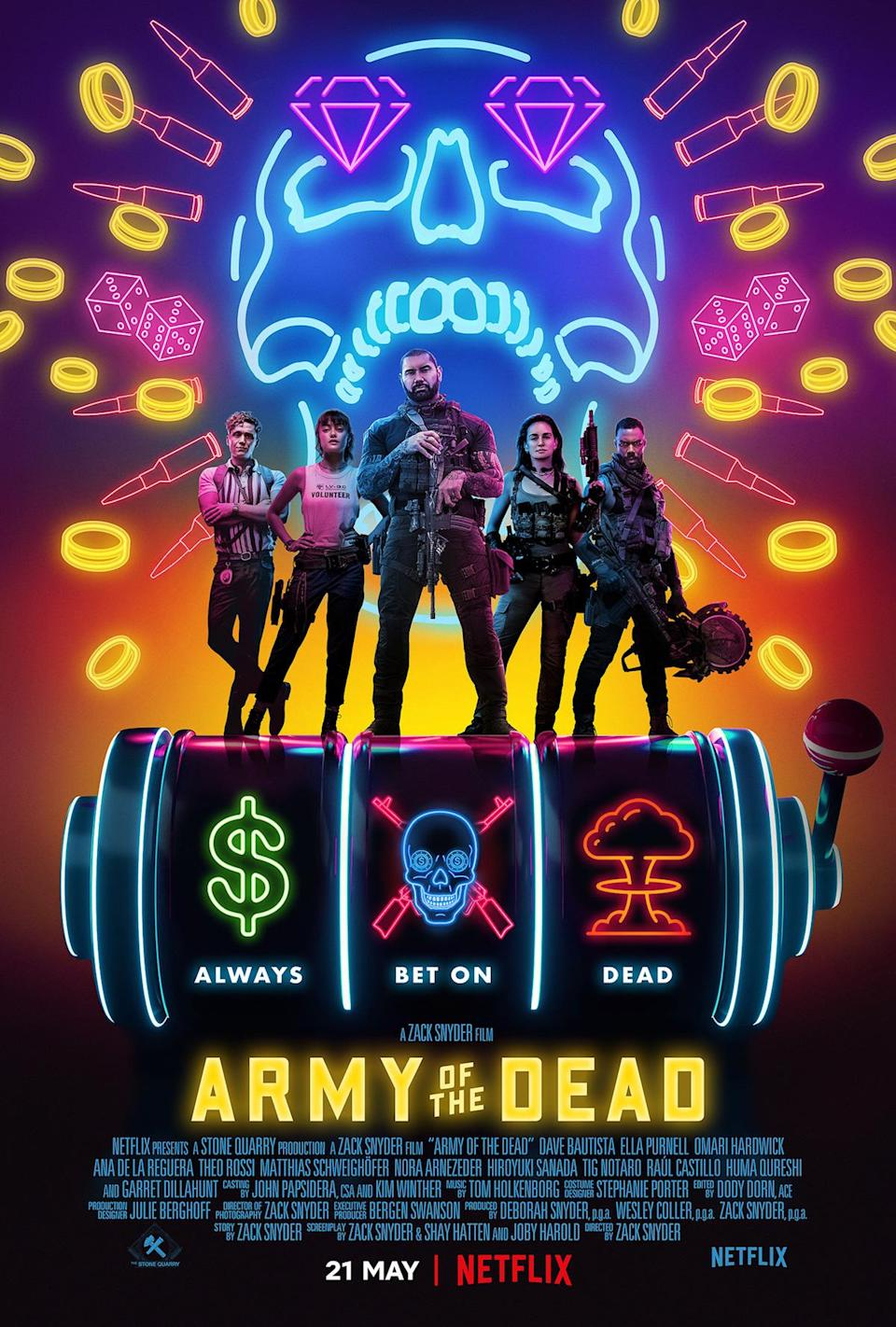 A bright neon colored poster for Army of the Dead with the characters standing atop a slot machine