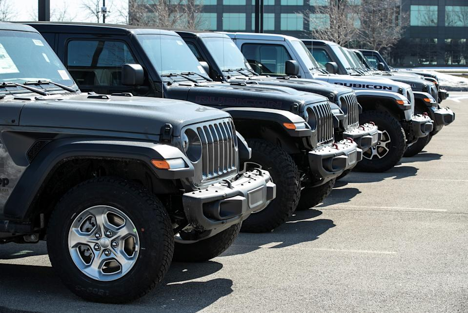 GLENVIEW U.S., March 3, 2021 -- Jeep vehicles are seen at a FCA dealership in Glenview, Illinois, the United States, on March 3, 2021. Fiat Chrysler Automobiles NV FCA raked in 29 million U.S. dollars in net income in 2020, down 99 percent year on year as a result of reduction in production and demand globally amid COVID-19 pandemic. (Photo by Joel Lerner/Xinhua via Getty) (Xinhua/Joel Lerner via Getty Images)