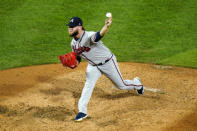 Atlanta Braves' A.J. Minter pitches during the fourth inning of a baseball game against the Philadelphia Phillies, Sunday, Aug. 30, 2020, in Philadelphia. (AP Photo/Matt Slocum)