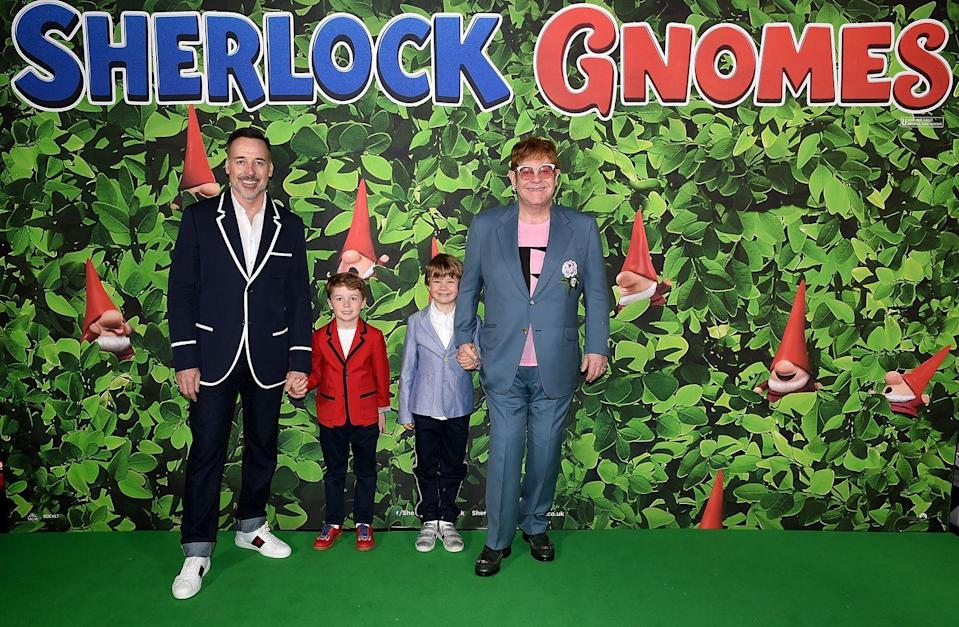 <p>Sir Elton John and husband David Furnish attended the premiere of Sherlock Gnomes with their two sons, Zachary and Elijah. </p>