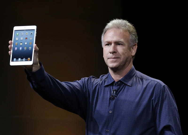 Phil Schiller, Apple's senior vice president of worldwide product marketing, introduces the iPad Mini in San Jose, Calif., Tuesday, Oct. 23, 2012. (AP Photo/Marcio Jose Sanchez)