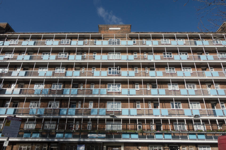 Block of flats in Whitechapel on 6th March 2020 in London, United Kingdom. This area in Tower Hamlets is a poor and over populated borough with many people living in small homes of social housing in high rise apartment blocks. (photo by Mike Kemp/In PIctures via Getty Images)