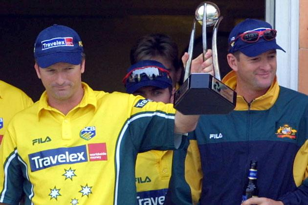 23 Jun 2001:  Steve Waugh of Australia (left) and his brother Mark parade the trophy after Australia beat Pakistan in  the Natwest Series Final at Lord's, London.  Craig Prentis/ALLSPORT