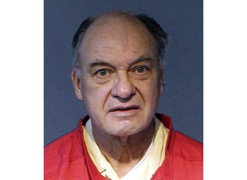 This undated photo provided by the Washoe County Sheriff's Office shows Charles Gary Sullivan, 73, of Flagstaff, Ariz., following his booking on Friday, Nov. 15, 2019, into the Washoe County Jail in Reno, Nev. The auto dealer from Arizona is expected to plead not guilty in Reno in the cold-case killing of a California woman more than 40 years ago. (Washoe County Sheriff's Office via AP)
