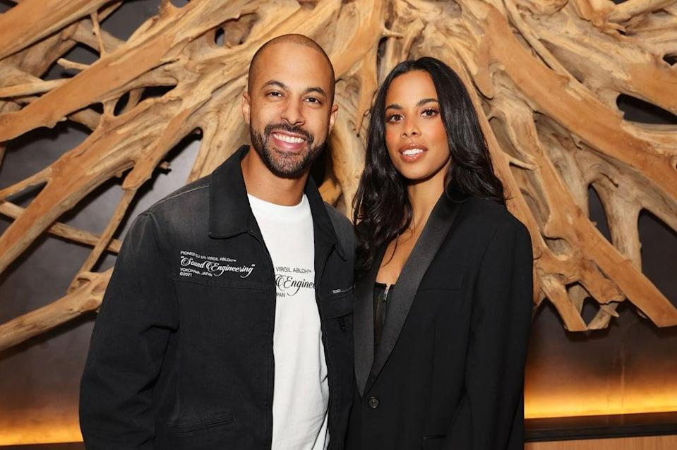Looking good: Rochelle and Marvin Humes attend ELLE fashion editor Georgia Medley's birthday party at Middle Eight on August 21, 2021 (Dave Benett)