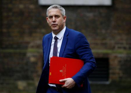 Britain's Secretary of State for Exiting the European Union Stephen Barclay is seen outside Downing Street in London, Britain March 19, 2019. REUTERS/Henry Nicholls
