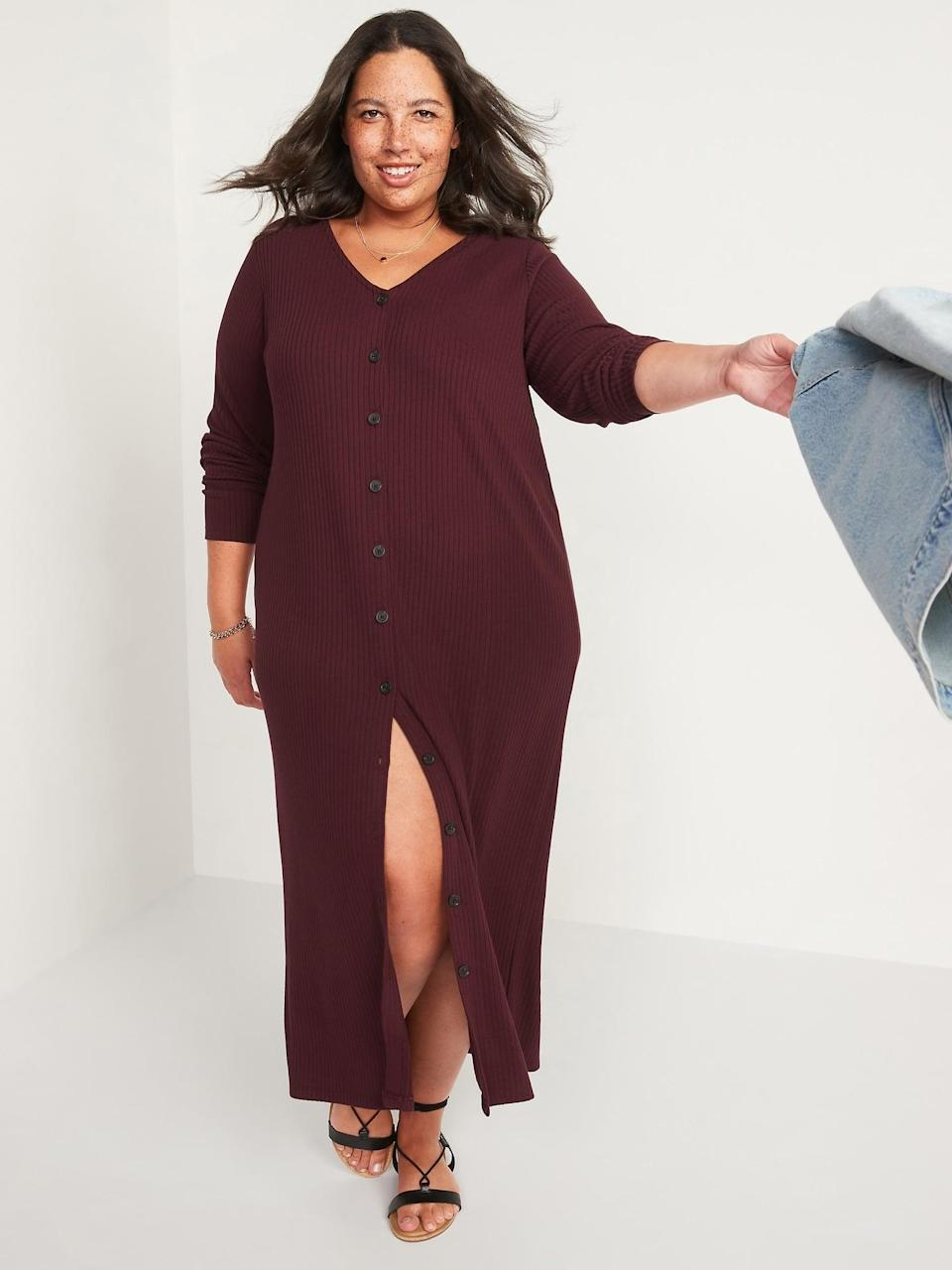 <p>This <span>Old Navy Rib-Knit Cardigan Sweater Midi Dress</span> ($45) is what to wear when you don't know what to wear. It's comfortable and easy but still looks put together. Sign us up!</p>