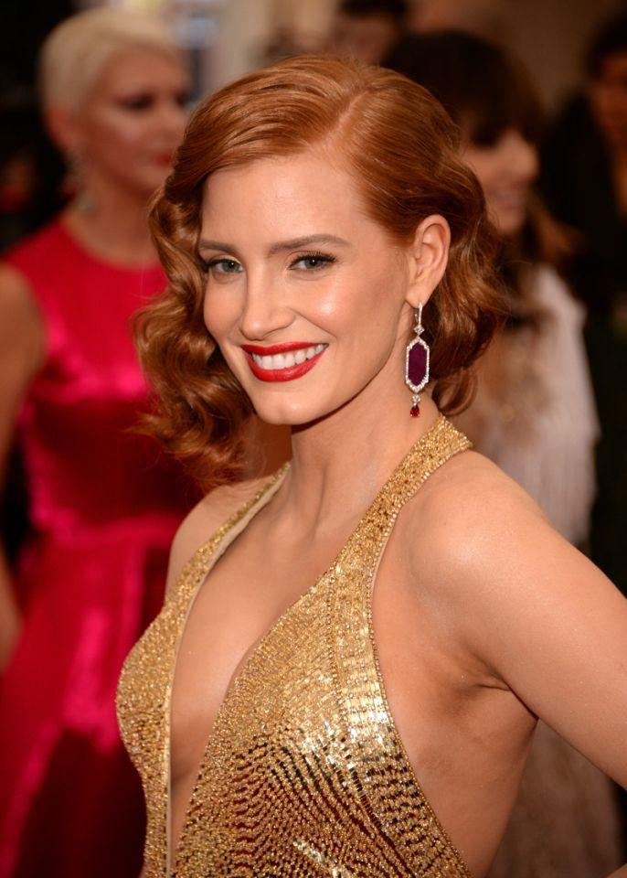<p>Rita Hayworth was the inspiration for Jessica Chastain's Met Gala beauty look by makeup artist Kristofer Buckle. (Photo: Getty Images)<br /></p>