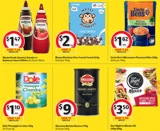Sauce, cereal, rice, pineapple, coffee and Mexican meal kit on sale for half-price at Coles.