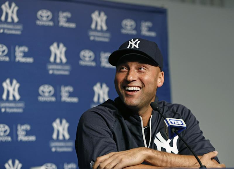 New York Yankees' Derek Jeter laughs during a news conference about his left ankle injury before a baseball game against the Toronto Blue Jays at Yankee Stadium in New York, Thursday, April 25, 2013. (AP Photo/Kathy Willens)