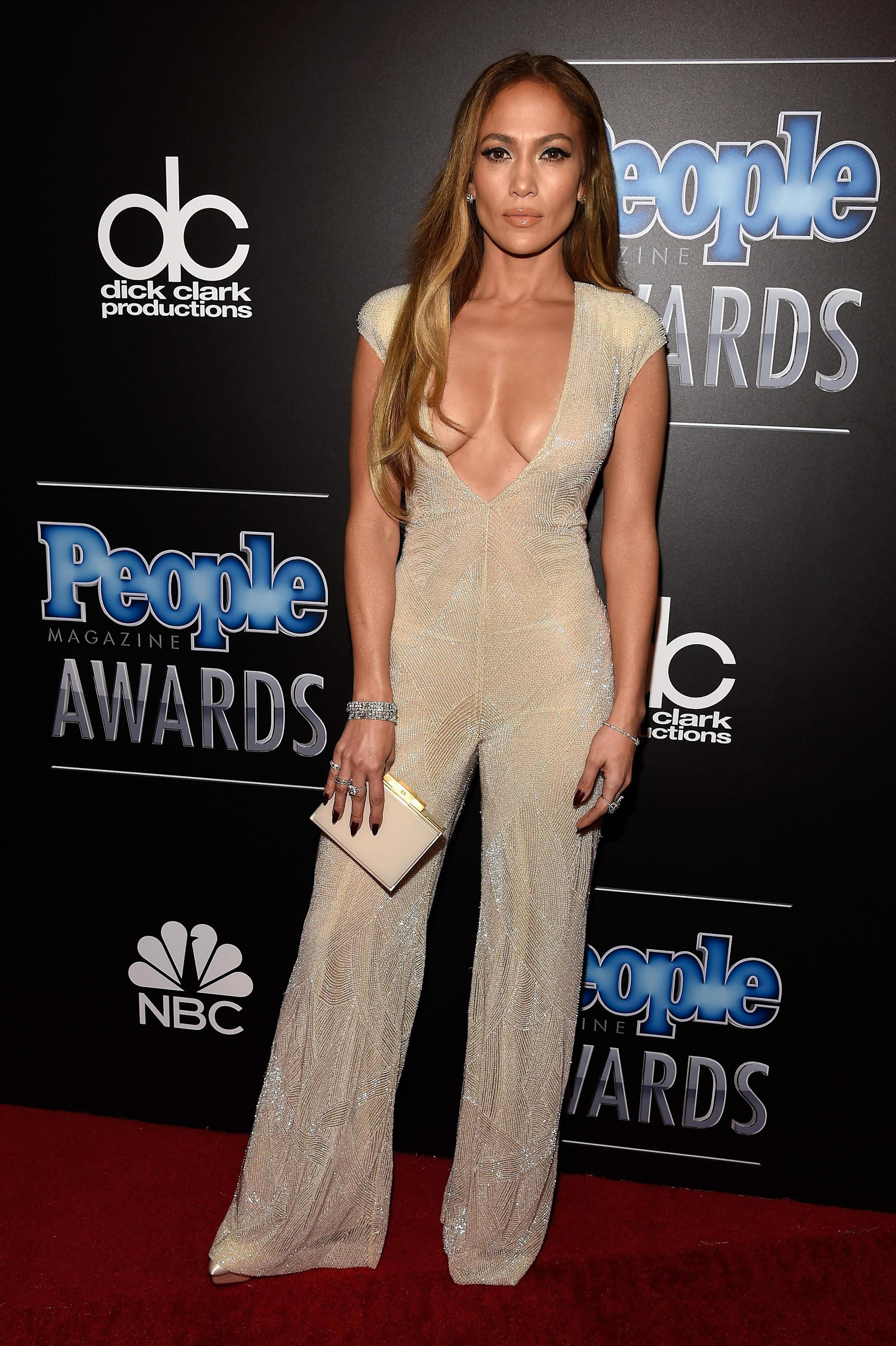 Jennifer Lopez takes the plunge in nude jumpsuit at awards