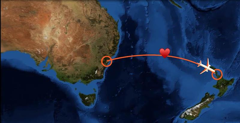 map of plane route from Sydney to Auckland