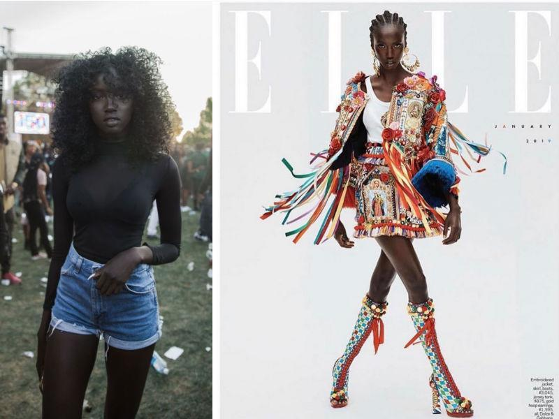 Anok Yai, who was discovered in a viral Instagram photo, is now featured on the cover of Elle. (Photo: Twitter)