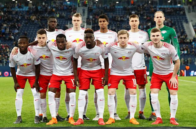 Soccer Football - Europa League Round of 16 Second Leg - Zenit Saint Petersburg vs RB Leipzig - Stadium St. Petersburg, Saint Petersburg, Russia - March 15, 2018 RB Leipzig players pose for a team group photo before the match REUTERS/Maxim Shemetov
