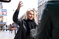 LONDON, ENGLAND - OCTOBER 05: Comedian and Writer Jennifer Saunders takes part in a Silent Stand at Gielgud Theatre on October 05, 2020 in London, England. The stand is to show solidarity with those in the UK theatre and to protest against the increased restrictions taking place in the events sector following the Coronavirus (Covid-19) lockdown. (Photo by Jeff Spicer/Getty Images)