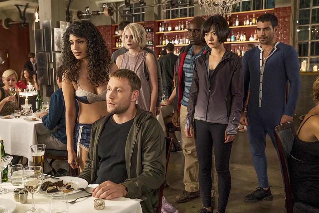 <p>Max Riemelt, Tina Desai, Tuppence Middleton, Brian J. Smith, Toby Onwumere, Doona Bae and Miguel Ángel Silvestre<br /> (Credit: Netflix) </p>