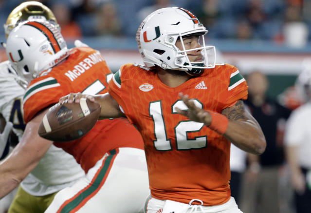 "Miami quarterback <a class=""link rapid-noclick-resp"" href=""/ncaaf/players/240751/"" data-ylk=""slk:Malik Rosier"">Malik Rosier</a> (12) needs to be at the top of his game against Clemson. (AP Photo/Lynne Sladky, File)"