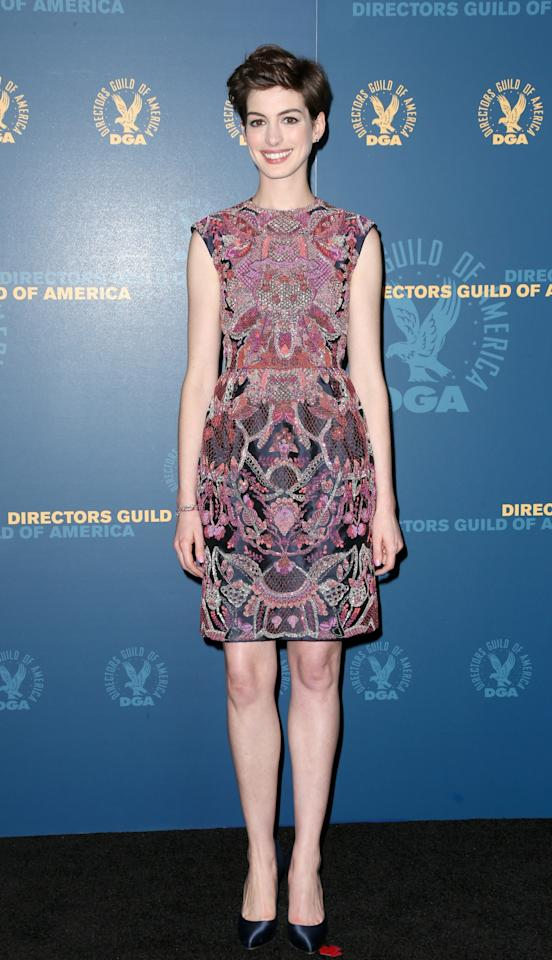 LOS ANGELES, CA - FEBRUARY 02:  Presenter Anne Hathaway poses in the press room during the 65th Annual Directors Guild Of America Awards at Ray Dolby Ballroom at Hollywood & Highland on February 2, 2013 in Los Angeles, California.  (Photo by Frederick M. Brown/Getty Images)